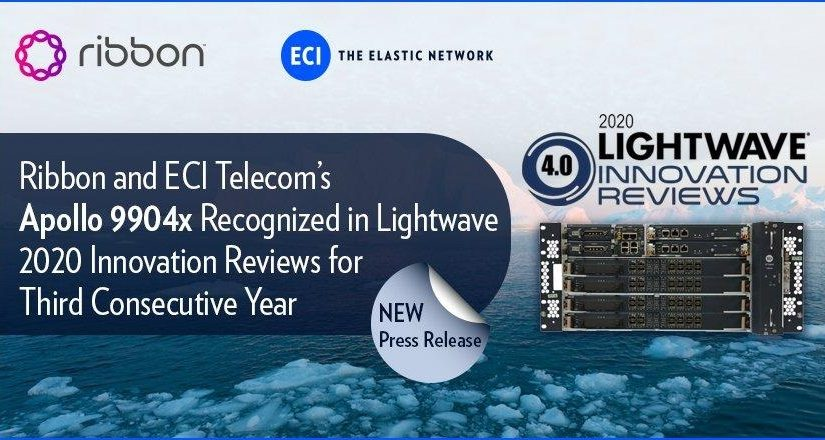 Ribbon and ECI Telecom's Apollo 9904x Recognized in Lightwave 2020 Innovation Reviews for Third Consecutive Year